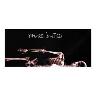"X-Ray Vision Red Single Skeleton Invites 4"" X 9.25"" Invitation Card"