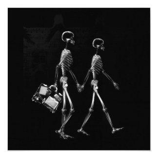 X-RAY VISION SKELETON COUPLE TRAVELING B&W 13 CM X 13 CM SQUARE INVITATION CARD