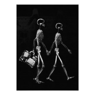 X-RAY VISION SKELETON COUPLE TRAVELING B&W PERSONALIZED INVITATION
