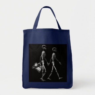 X-RAY VISION SKELETON COUPLE TRAVELING B&W TOTE BAG