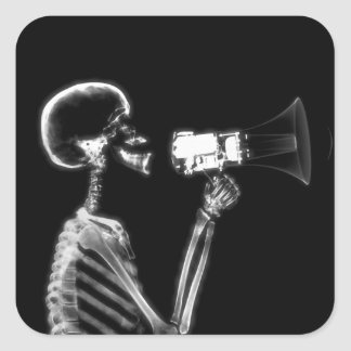 X-RAY VISION SKELETON ON MEGAPHONE - B&W SQUARE STICKER