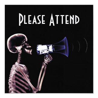 X-RAY VISION SKELETON ON MEGAPHONE - ORIGINAL 13 CM X 13 CM SQUARE INVITATION CARD