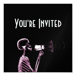 X-RAY VISION SKELETON ON MEGAPHONE -PINK CARD