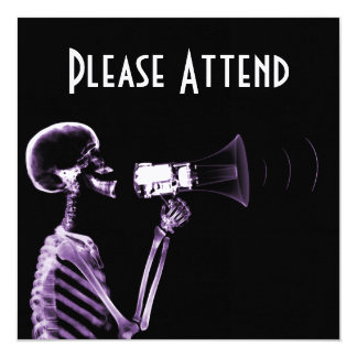 X-RAY VISION SKELETON ON MEGAPHONE - PURPLE 13 CM X 13 CM SQUARE INVITATION CARD