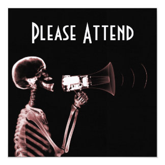 """X-RAY VISION SKELETON ON MEGAPHONE - RED 5.25"""" SQUARE INVITATION CARD"""