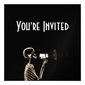 X-RAY VISION SKELETON ON MEGAPHONE - SEPIA 13 CM X 13 CM SQUARE INVITATION CARD