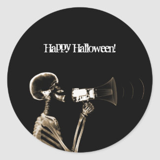 X-RAY VISION SKELETON ON MEGAPHONE - SEPIA CLASSIC ROUND STICKER