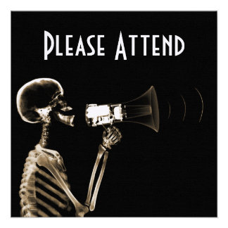 X-RAY VISION SKELETON ON MEGAPHONE - SEPIA PERSONALIZED INVITE