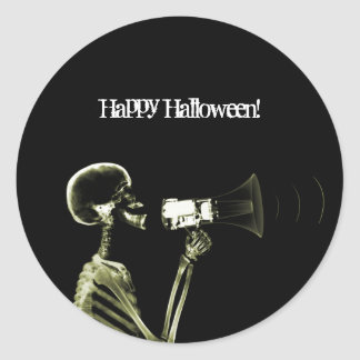 X-RAY VISION SKELETON ON MEGAPHONE - YELLOW CLASSIC ROUND STICKER