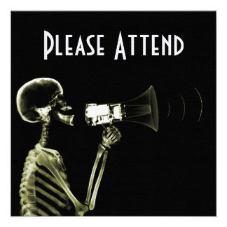 X-RAY VISION SKELETON ON MEGAPHONE - YELLOW PERSONALIZED ANNOUNCEMENT