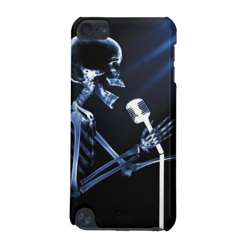 X-RAY VISION SKELETON SINGING ON RETRO MIC - BLUE iPod TOUCH (5TH GENERATION) CASE