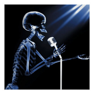 X-RAY VISION SKELETON SINGING ON RETRO MIC - BLUE POSTER