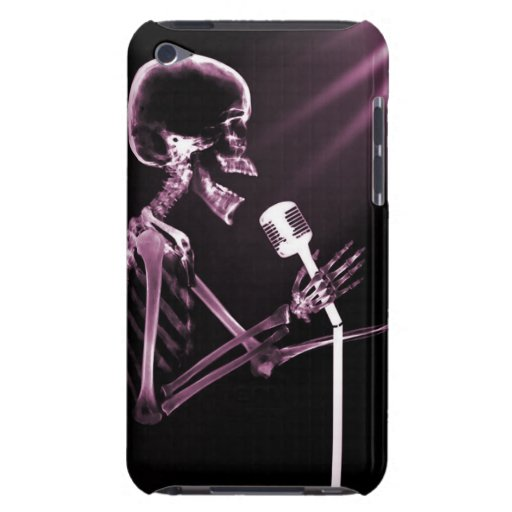 X-RAY VISION SKELETON SINGING ON RETRO MIC - PINK BARELY THERE iPod COVER