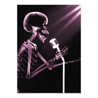 X-RAY VISION SKELETON SINGING ON RETRO MIC - PINK PERSONALIZED ANNOUNCEMENTS