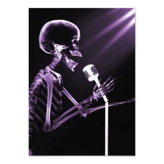 X-RAY VISION SKELETON SINGING ON RETRO MIC PURPLE CARD