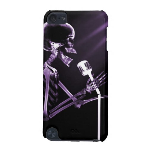 X-RAY VISION SKELETON SINGING ON RETRO MIC PURPLE iPod TOUCH 5G CASE