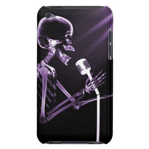 X-RAY VISION SKELETON SINGING ON RETRO MIC PURPLE iPod TOUCH COVERS