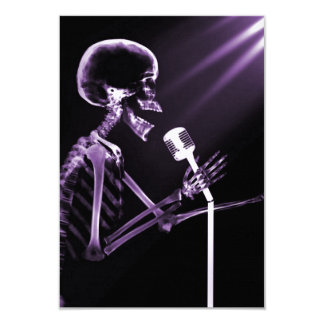 "X-RAY VISION SKELETON SINGING ON RETRO MIC PURPLE 3.5"" X 5"" INVITATION CARD"