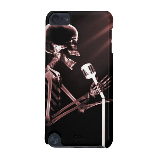 X-RAY VISION SKELETON SINGING ON RETRO MIC - RED iPod TOUCH (5TH GENERATION) CASE