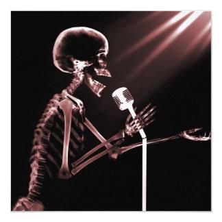X-RAY VISION SKELETON SINGING ON RETRO MIC - RED 13 CM X 13 CM SQUARE INVITATION CARD