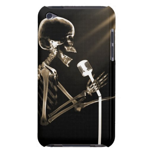 X-RAY VISION SKELETON SINGING ON RETRO MIC - SEPIA iPod Case-Mate CASES