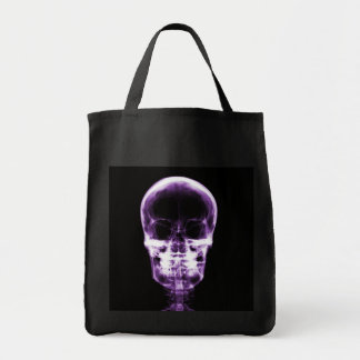 X-RAY VISION SKELETON SKULL - PURPLE GROCERY TOTE BAG