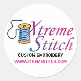 x stitch, custom embroidery, WWW.XTREMESTITCH.COM Classic Round Sticker