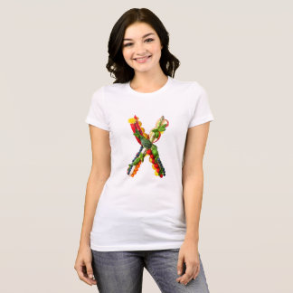 X Vegetable with Flowers T-Shirt