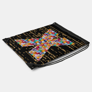 x xx x alpha initial name Birthday HappyBirthday Drawstring Bag