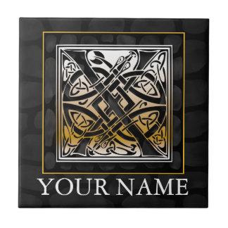 "X ""Your Name"" Celtic Black Stone Monogram Tile"