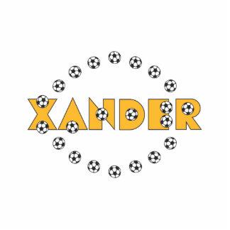 Xander in Soccer Gold Standing Photo Sculpture
