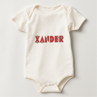 Xander in Soccer Red Baby Bodysuit