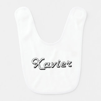 Xavier Classic Retro Name Design Baby Bib