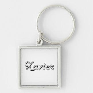Xavier Classic Retro Name Design Silver-Colored Square Keychain
