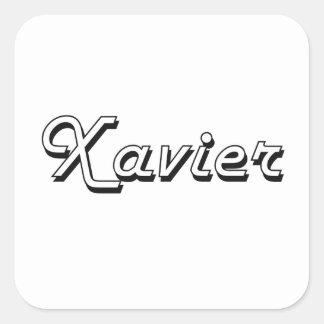 Xavier Classic Retro Name Design Square Sticker