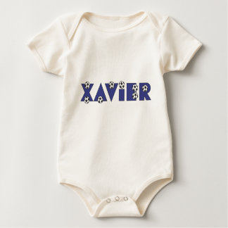 Xavier in Soccer Blue Baby Bodysuit
