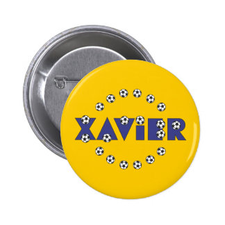 Xavier in Soccer Blue Buttons
