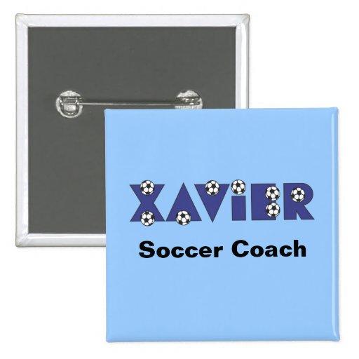 Xavier in Soccer Blue Pinback Button