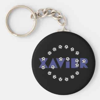 Xavier in Soccer Blue Basic Round Button Key Ring