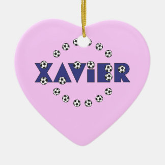 Xavier in Soccer Blue Ceramic Heart Decoration