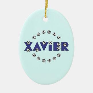 Xavier in Soccer Blue Ceramic Oval Decoration