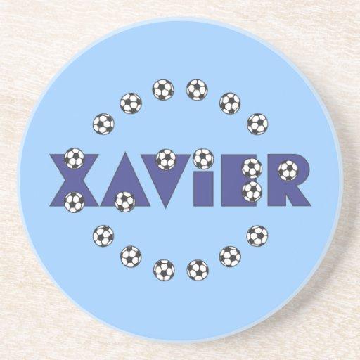 Xavier in Soccer Blue Drink Coasters