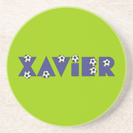 Xavier in Soccer Blue Drink Coaster
