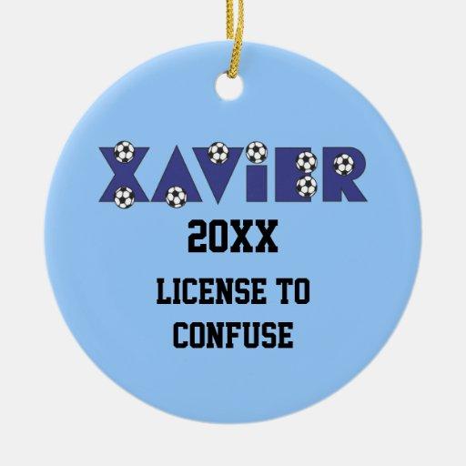 Xavier in Soccer Blue Christmas Tree Ornaments