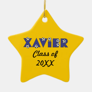 Xavier in Soccer Blue Christmas Tree Ornaments