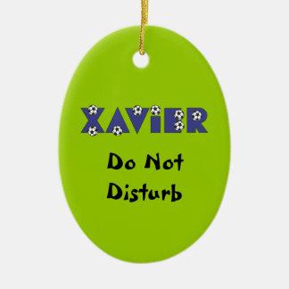 Xavier in Soccer Blue Ornaments