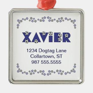 Xavier in Soccer Blue Christmas Ornaments