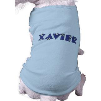 Xavier in Soccer Blue Pet T-shirt