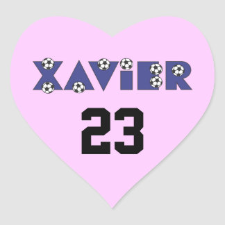 Xavier in Soccer Blue Heart Sticker