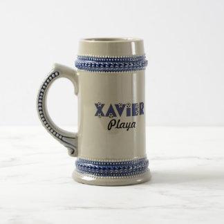 Xavier in Soccer Blue 18 Oz Beer Stein
